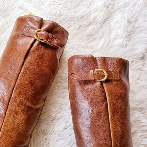 Steve Madden Intyce Cognac Pull-On Flat Knee Boots